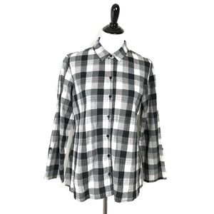 Habitat Plaid Tunic Top Button Crinkle Blouse